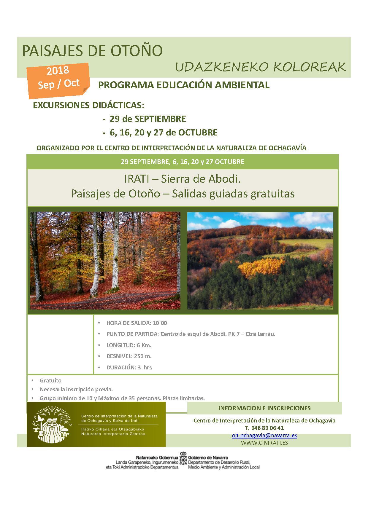 Programa Otoño Salidas educación ambiental (cast) 2018 PAISAJES DE OTOÑO