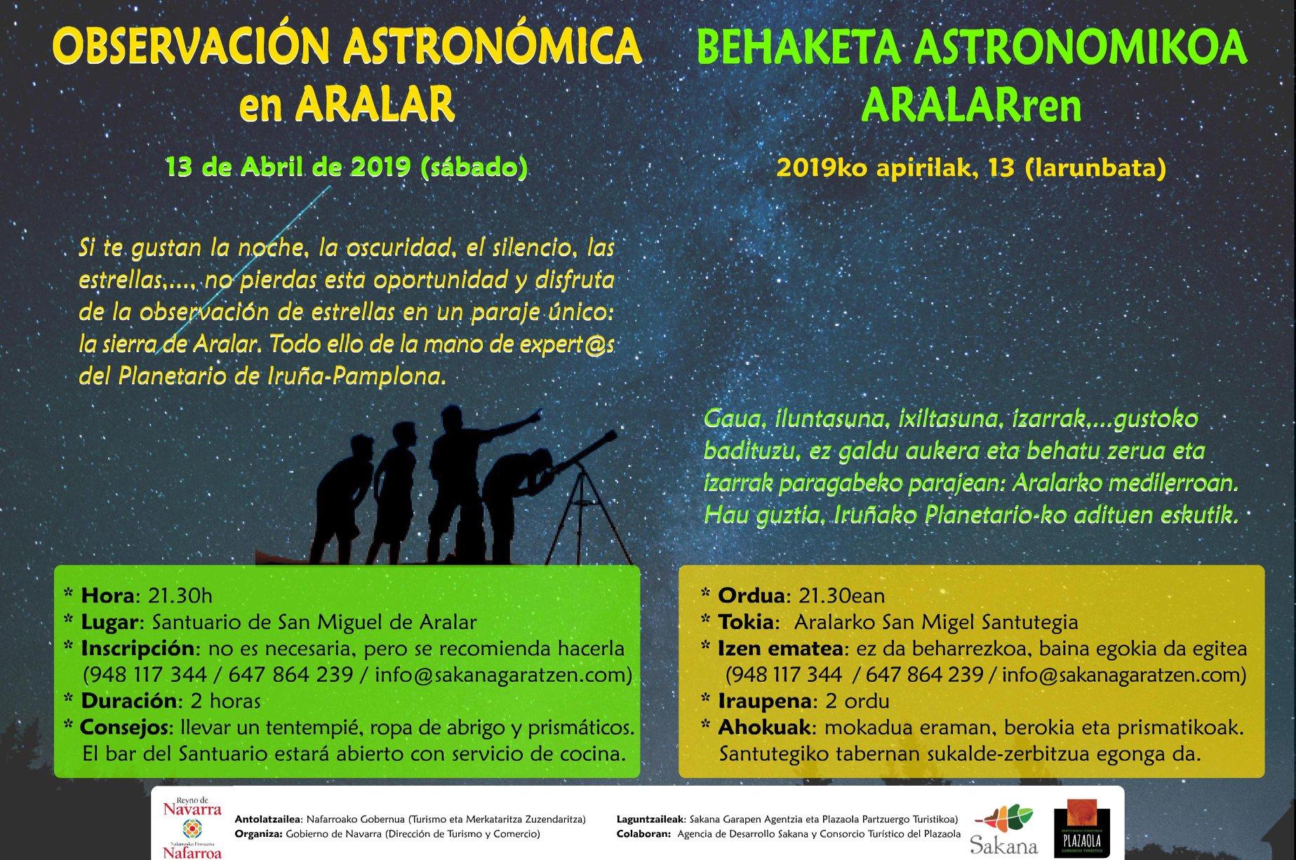 observación astronomica en aralar