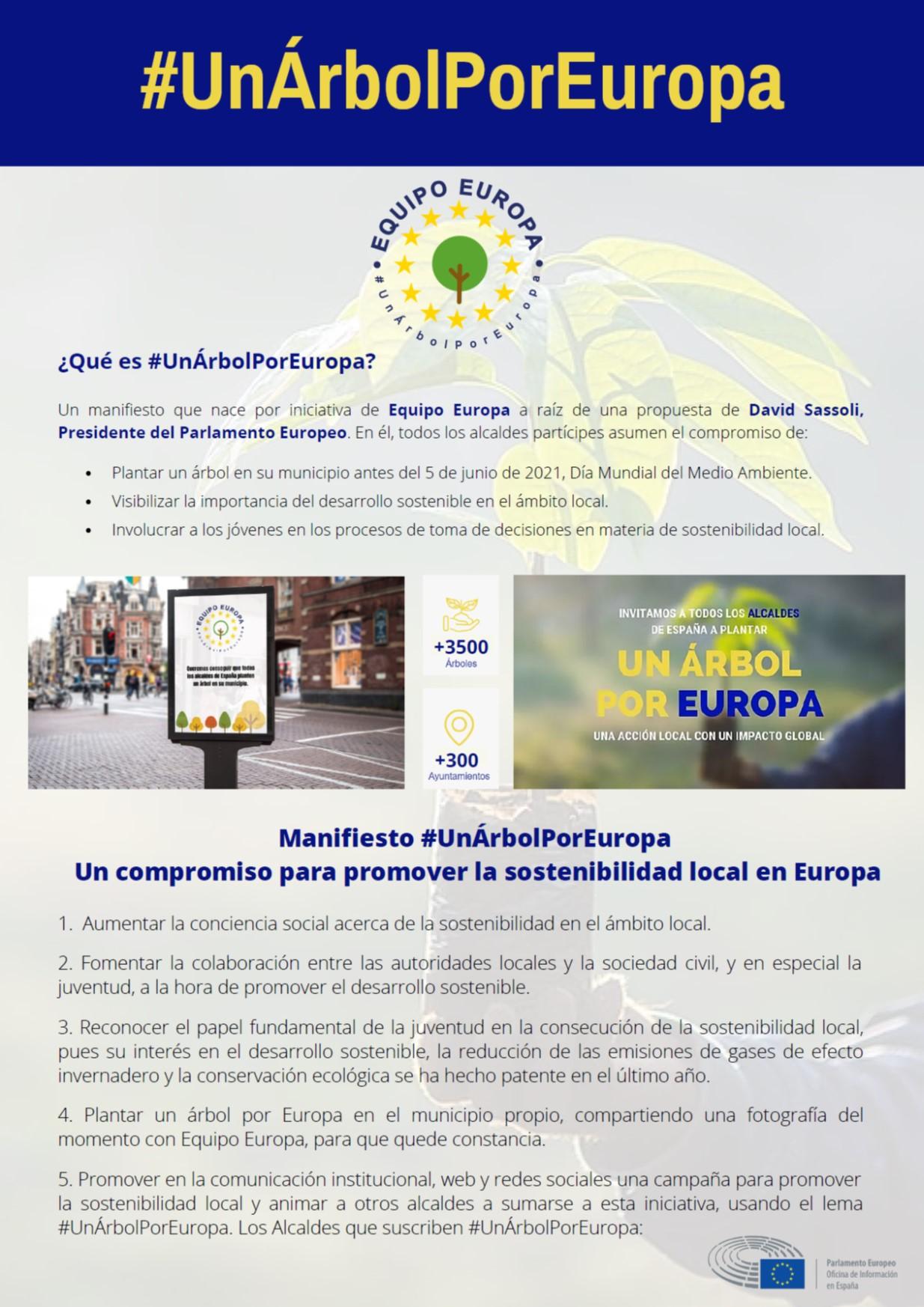 Campaña #UnÁrbolPorEuropa, por la participación de la juventud en el fomento de la sostenibilidad local