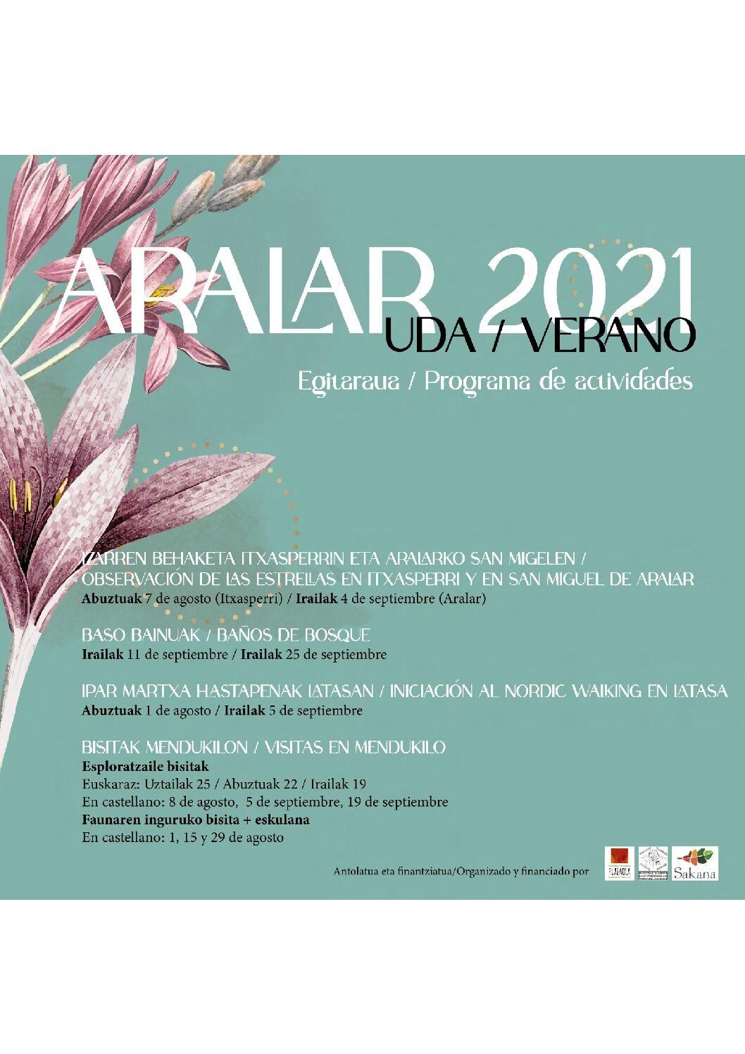 Programa Actividades Sierra Aralar-Verano 2021