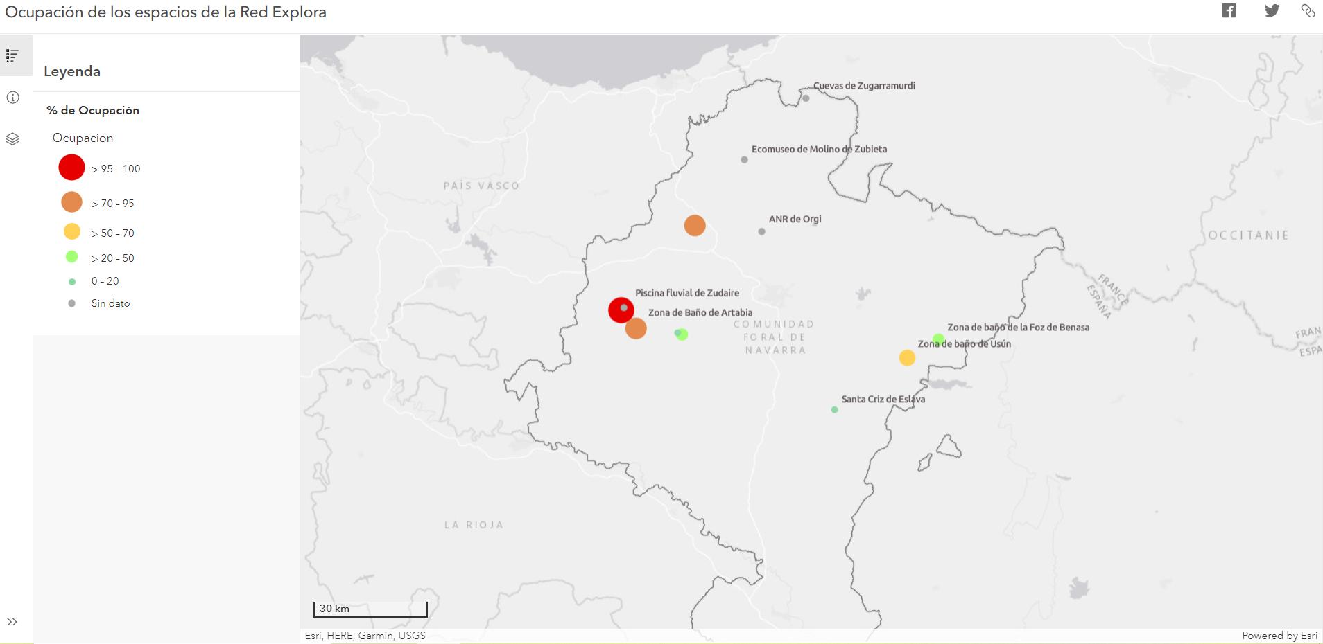 MAPA de OCUPACIÓN de ESPACIOS de la RED EXPLORA NAVARRA